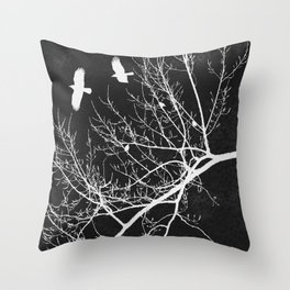 Crows Flying Over Trees Negative Silhouette Throw Pillow