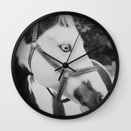 Pinto Horse Black and White Wall Clock