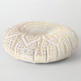 Gold Mandala Pattern Illustration With White Shimmer Floor Pillow