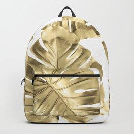 Gold Monstera Leaves on White Backpack