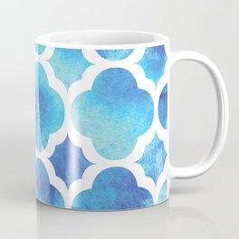 Watercolor Moroccan Quatrefoil Clover Trellis in Turquoise Sea Coffee Mug