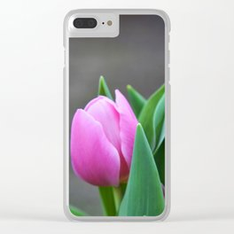 First Pink Tulip Clear iPhone Case