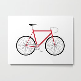 Fixed Gear Bike - Red Metal Print