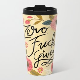Pretty Sweary: Zero Fucks Given, in Yellow Metal Travel Mug