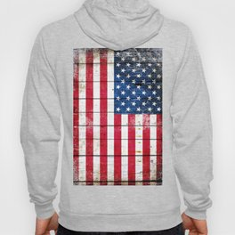 Distressed American Flag On Wood Planks - Horizontal Hoody