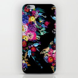 Colorful Floral Painting on Black Canvas. iPhone Skin