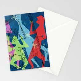 Mid-Century Modern Jazz Band Stationery Cards