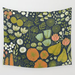 Botanical Sketchbook M+M Navy by Friztin Wall Tapestry
