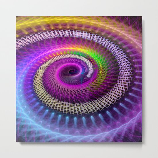 Colorful textured spiral abstract Metal Print