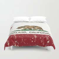 oakland Duvet Covers featuring Oakland California Republic Flag Distressed  by NorCal