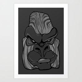 Gorilla - Harbour Mist Grey Art Print