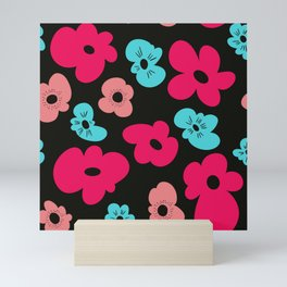 Funky poppies (black background) Mini Art Print