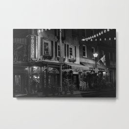 Cafe? Gia at Night B&W Metal Print