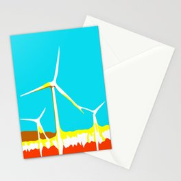 wind turbine in the desert with blue sky Stationery Cards