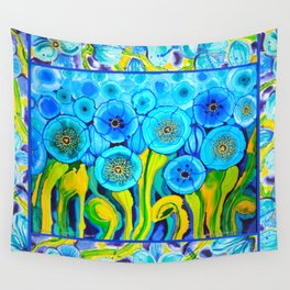 Field of Poppies with Border All Around Belize Wall Tapestry