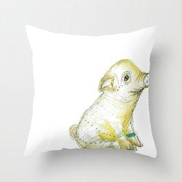 Pig Illustration Throw Pillow