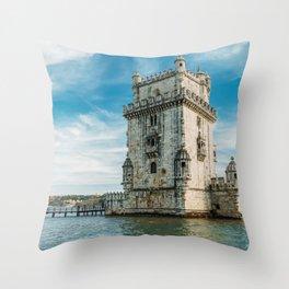 Belem Tower of Saint Vincent In Lisbon, Wall Art Print, Historic Architecture Art, Poster Decor Throw Pillow