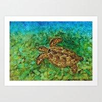 One Happy Turtle Art Print