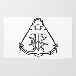 Anchor and Steering Helm [Outline] Rug