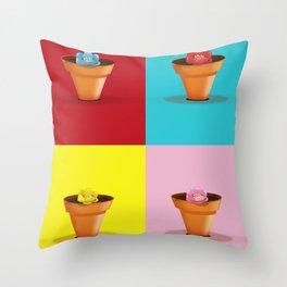 Four Pots Throw Pillow