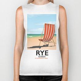 Rye beach travel poster Biker Tank