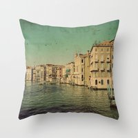 postcard Throw Pillows featuring Venice postcard by Sylvia Cook Photography