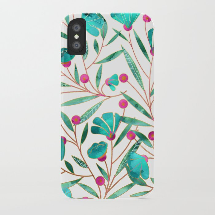 Turquoise Floral iPhone Case
