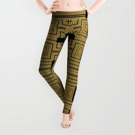 Tribal Gold Abstract Pattern Leggings