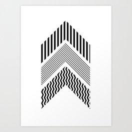 Geometric - Arrows, Black & White Striped Art Print