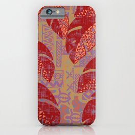Hawaiian Lava Leaves Tapa Print iPhone Case