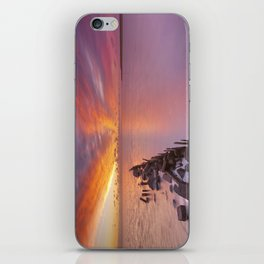 Sunrise over sea on the island of Texel, The Netherlands iPhone Skin