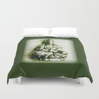 budi satria kwan Duvet Covers featuring Antique Green Kwan Yin by Jan4insight