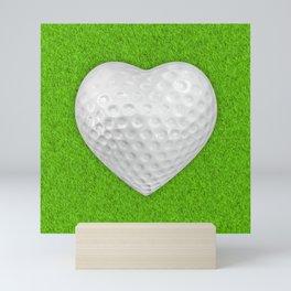 Golf ball heart / 3D render of heart shaped golf ball Mini Art Print