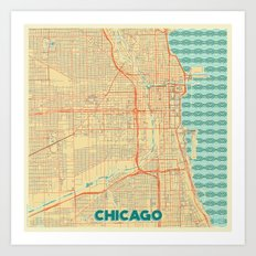Chicago Map Retro Art Print