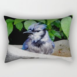 Wet blue jay Rectangular Pillow