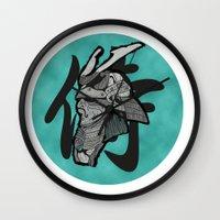 samurai Wall Clocks featuring Samurai by  Steve Wade ( Swade)