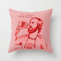 anchorman Throw Pillows featuring Anchorman: Milk was a Bad Choice by Red Misery