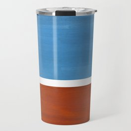 Antique Pastel Blue Brown Mid Century Modern Abstract Minimalist Rothko Color Field Squares Travel Mug