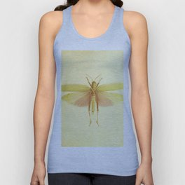Vintage Inspired Pastel Yellow Salmon Butterfly Unisex Tank Top