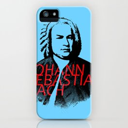 Johann Sebastian Bach portrait in grays with red text iPhone Case