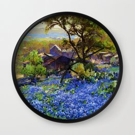 Bluebonnets at the Quarry Texas landscape desert painting by Robert Julian Onderdonk Wall Clock