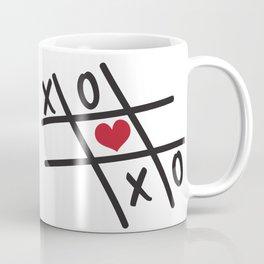 Tic Tac Toe XOXO and Red Heart Coffee Mug