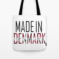denmark Tote Bags featuring Made In Denmark by VirgoSpice