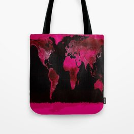 World Map Magenta Pink Tote Bag