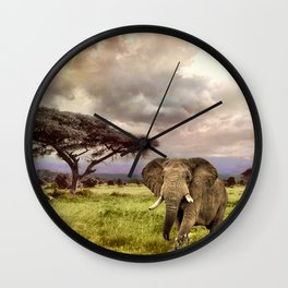 Elephant Landscape Collage Wall Clock