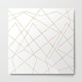Modern Gold Geometric Strokes Abstract Design Metal Print