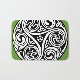 Celtic Art - Triskele - on Green Bath Mat