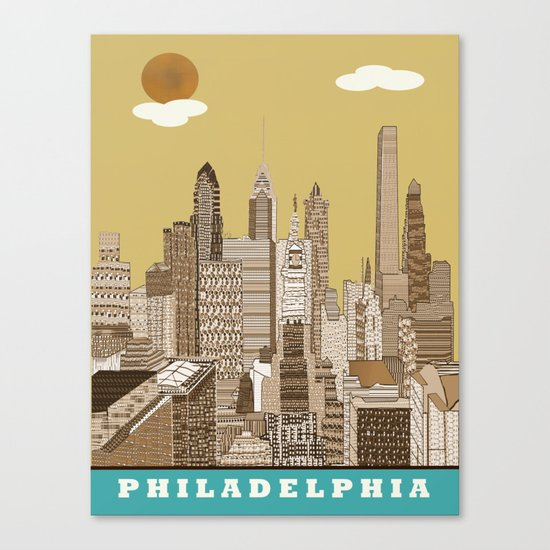 Philadelphia skyline vintage Canvas Print