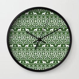 Maltese fair isle christmas pattern minimal dog breed snowflakes holiday gifts Wall Clock