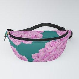 Flowerpower - Pink Flower Balls On A Dark Green Background - #society6 Fanny Pack
